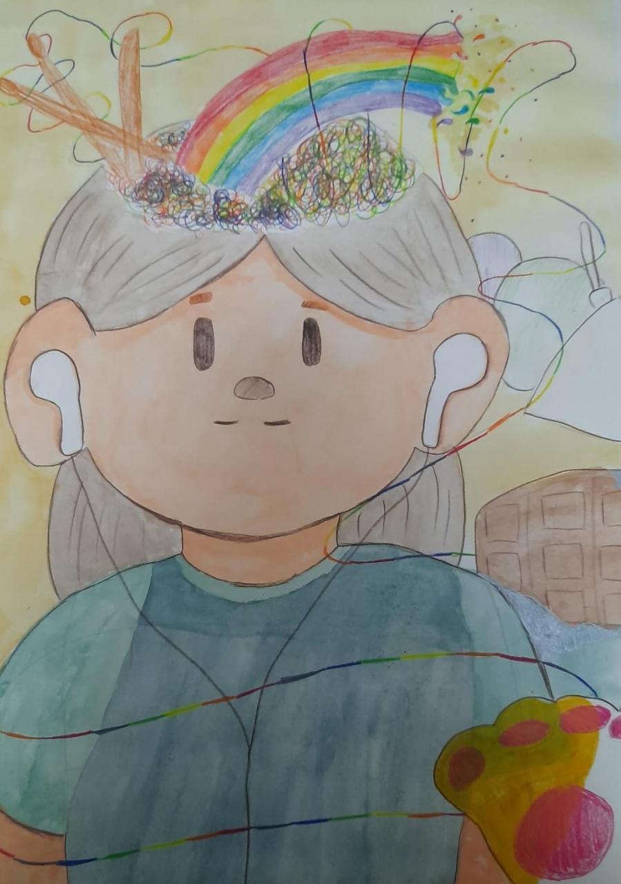 勞星雨  題目:我的自畫像